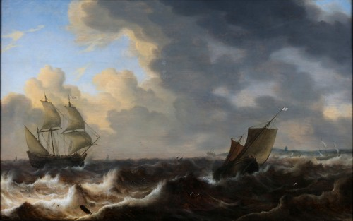 English ships in choppy water of the coast -Jacob Adriaensz. Bellevois (1621 - 1676 ) - Paintings & Drawings Style