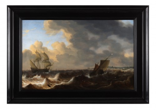 English ships in choppy water of the coast -Jacob Adriaensz. Bellevois (1621 - 1676 ) -