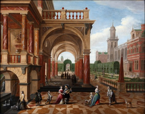 Pieter Neefs II and Frans Francken III  - Activities on the court of a royal palace
