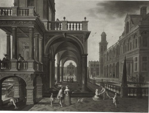 Pieter Neefs II and Frans Francken III  - Activities on the court of a royal palace -