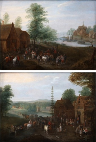 Carel Beschey (1706 – c. 1770)  - Dancing around the Maytree and an animated village scene near the river