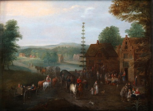 Carel Beschey (1706 – c. 1770)  - Dancing around the Maytree and an animated village scene near the river - Paintings & Drawings Style