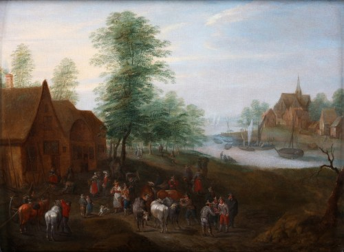 Paintings & Drawings  - Carel Beschey (1706 – c. 1770)  - Dancing around the Maytree and an animated village scene near the river