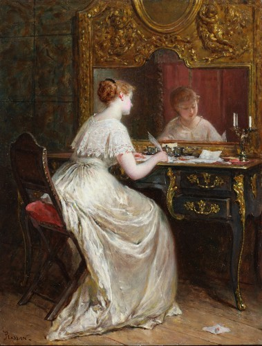 A young lady writing - Emile Plassan (1817-1903)