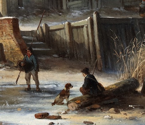 Winterlandscape with skaters on ice - Louis Smets (1840-1896) -