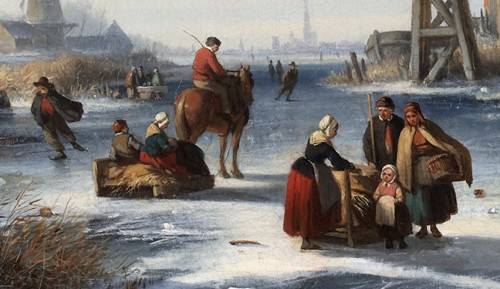 19th century - Winterlandscape with skaters on ice - Louis Smets (1840-1896)