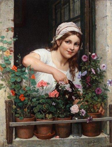 Portrait of a young lady watering her flowers - Henri Bource (1826 - 1899)