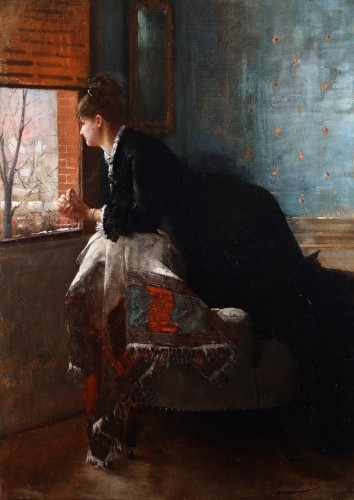 Woman gazing out of a window - Louis-Charles Verwée (1832-1882)