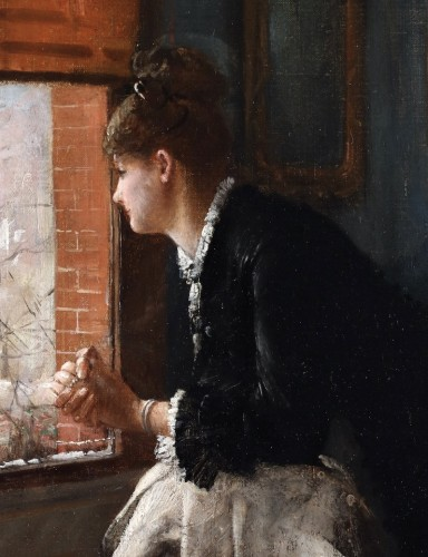 19th century - Woman gazing out of a window - Louis-Charles Verwée (1832-1882)