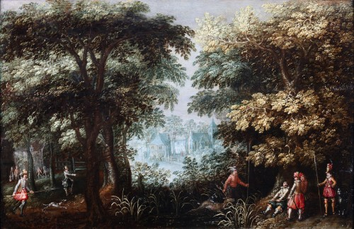 Landscape with hunters and a village view - David Vinckboons (1576-1632)
