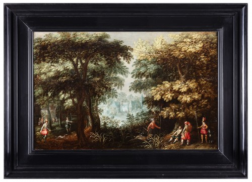 Landscape with hunters and a village view - David Vinckboons (1576-1632) - Paintings & Drawings Style