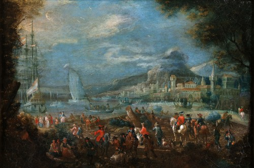 An animated view of a mediterranean harbour and town - Flemish school of the 17th century