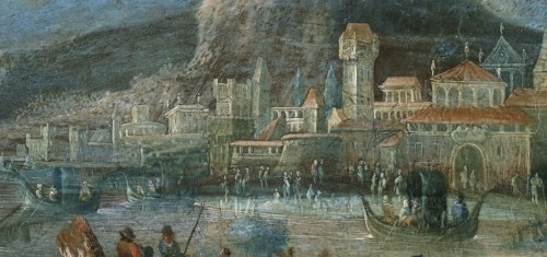 - An animated view of a mediterranean harbour and town - Flemish school of the 17th century