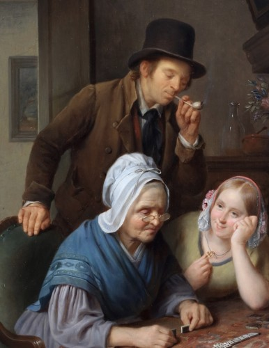 Paintings & Drawings  - A game of dominoes - François Joseph Luckx (1802-1849)
