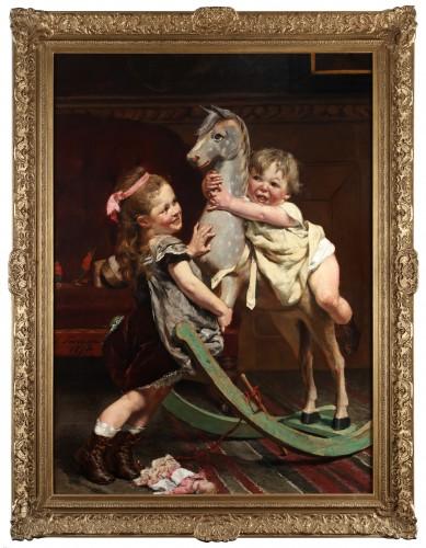 Riding on a horse - Edgar Farasyn (1858-1938) - Paintings & Drawings Style