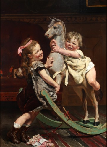 Paintings & Drawings  - Riding on a horse - Edgar Farasyn (1858-1938)