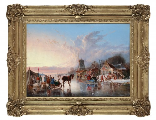 Winterpleasures on ice - Simon van der Ley (1840 - 1860)  - Paintings & Drawings Style