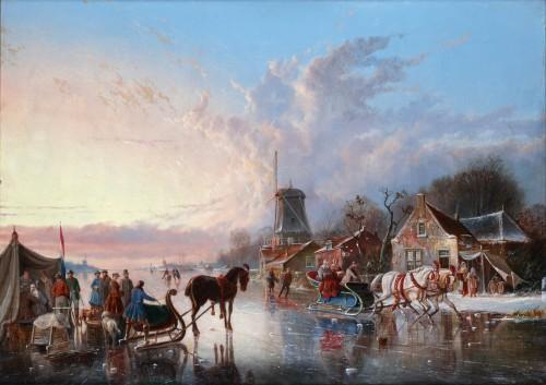Paintings & Drawings  - Winterpleasures on ice - Simon van der Ley (1840 - 1860)