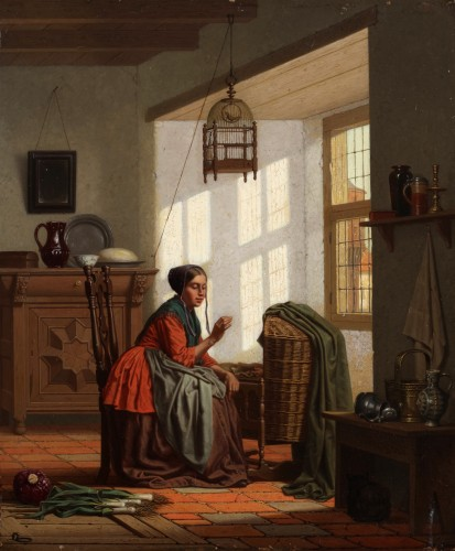 A young mother - Carel Jozeph Grips (1825-1920)  - Paintings & Drawings Style