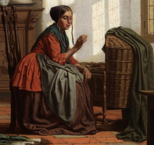 Paintings & Drawings  - A young mother - Carel Jozeph Grips (1825-1920)