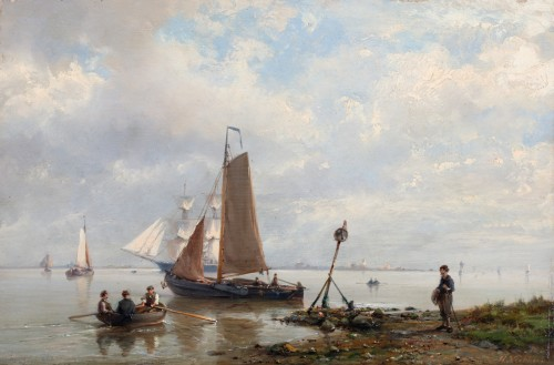 Ships near the shore & Ships in open water - Hermanus Koekkoek (1815-1882) - Paintings & Drawings Style