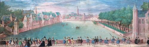 """View on """"De Hofvijver"""", den Hague (ca. 1580-1600)"""