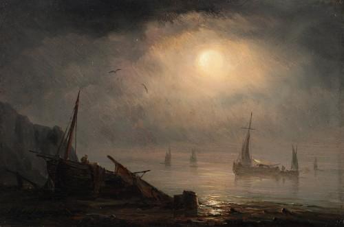 Ships near the shore under the moonlight - Henriette Gudin (1825 - 1892)