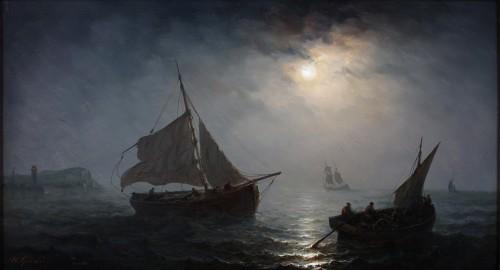 Ships in open water in the moonlight - Henriette Gudin (1825-1892)
