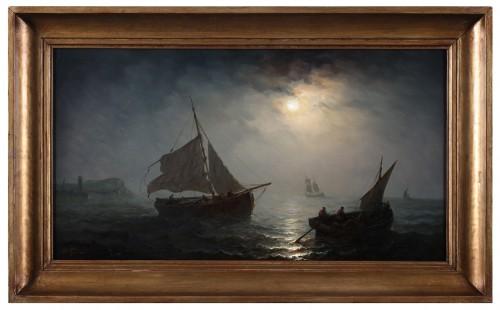 Ships in open water in the moonlight - Henriette Gudin (1825-1892)  - Paintings & Drawings Style