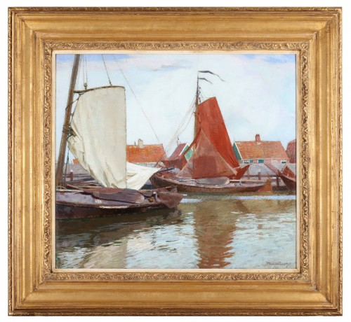 Boats in a Dutch harbour - Maurice Sys (1880-1972)  - Paintings & Drawings Style