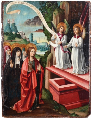 Spanish school circa 1500, Mary Magdalene and two angels at the tomb.