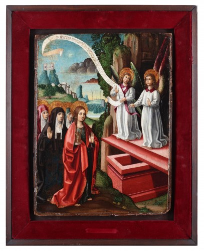 Spanish school circa 1500, Mary Magdalene and two angels at the tomb. - Paintings & Drawings Style