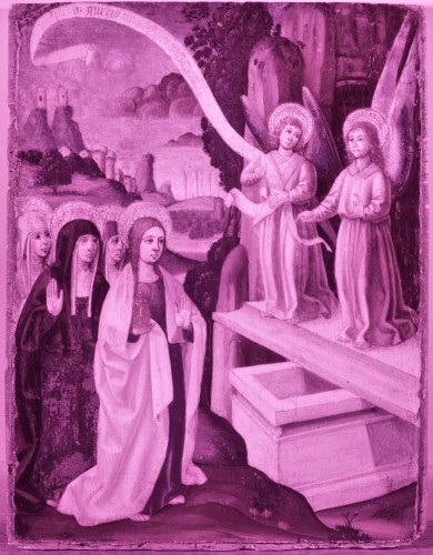 Paintings & Drawings  - Spanish school circa 1500, Mary Magdalene and two angels at the tomb.