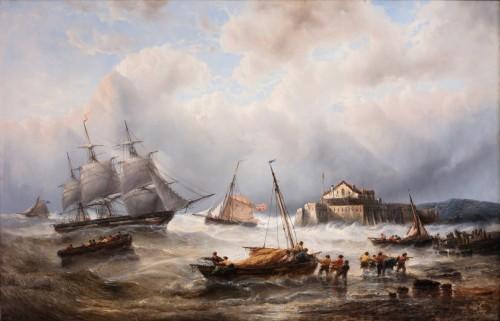 Ships near the coast - François Musin (1820-1888)