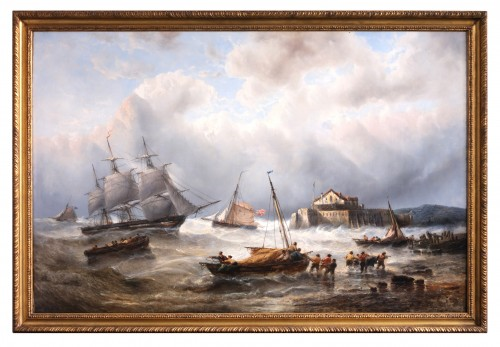 Ships near the coast - François Musin (1820-1888) - Paintings & Drawings Style