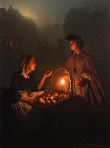 Petrus Van Schendel (1806-1870)  - An apple seller on a Dutch evening market by Petrus van Schendel