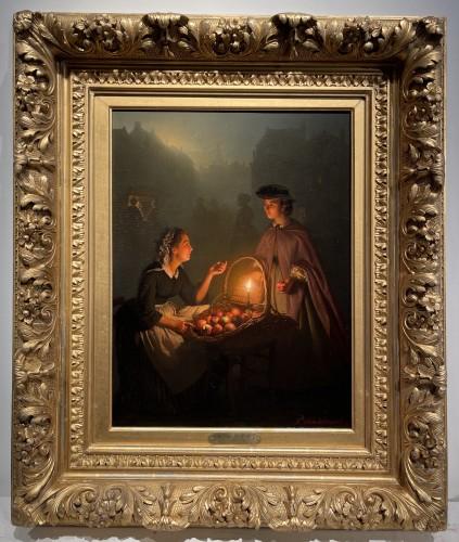 Paintings & Drawings  - Petrus Van Schendel (1806-1870)  - An apple seller on a Dutch evening market by Petrus van Schendel