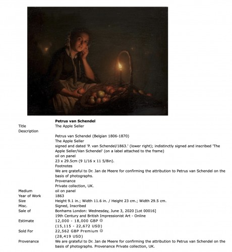 19th century - Petrus Van Schendel (1806-1870)  - An apple seller on a Dutch evening market by Petrus van Schendel