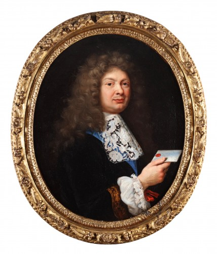 Gabriel Revel (1643 -1712) - Portrait of a man holding a letter and a portrait of a lady in a blue dress - Paintings & Drawings Style