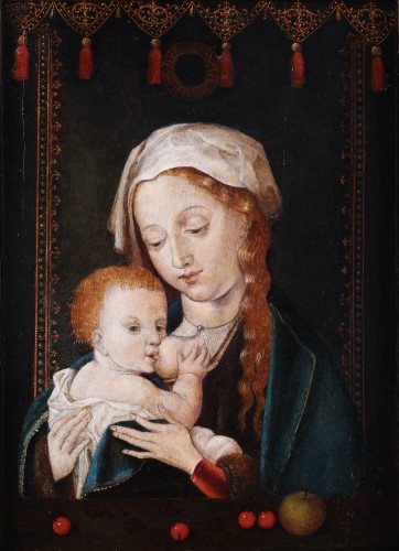 A portrait of Mary with child and cherries - Circle of Joos van Cleve