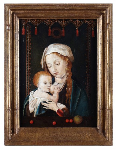 Paintings & Drawings  - A portrait of Mary with child and cherries - Circle of Joos van Cleve