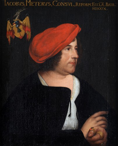 Portrait of a man with a red beret- German School 17th Century