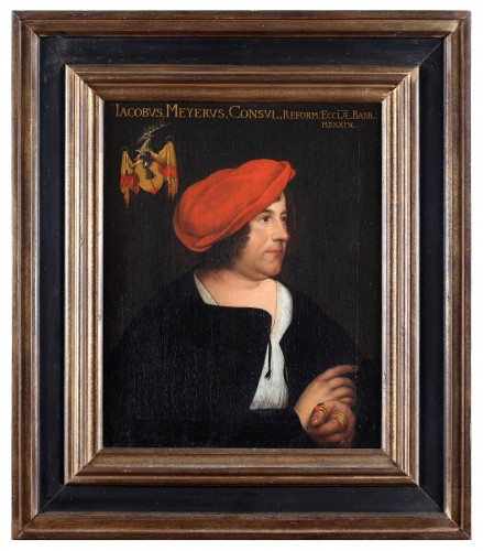 Portrait of a man with a red beret- German School 17th Century -