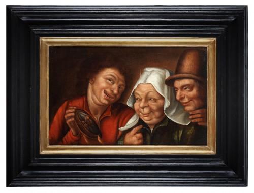 Three farmers looking at a small mirror.- Marten van Cleve (1527 - 1581)