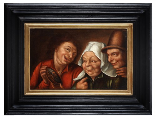 Three farmers looking at a small mirror.- Marten van Cleve (1527 - 1581) - Paintings & Drawings Style
