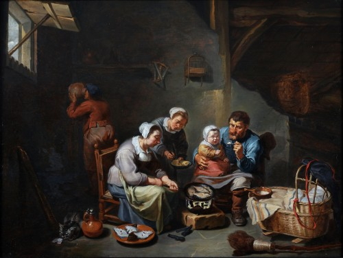 Interior with a peasant family frying fish -  - Willem van Herp The Elder (1614 - 1677)