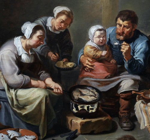 Paintings & Drawings  - Interior with a peasant family frying fish -  - Willem van Herp The Elder (1614 - 1677)