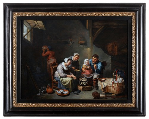 Interior with a peasant family frying fish -  - Willem van Herp The Elder (1614 - 1677) -