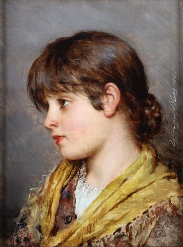 Portrait of a young Venetian girl - Eugene de Blaas (1843- 1931)
