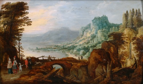 Extensive landscape with gentry - Joos de Momper & Sebastiaen Vrancx